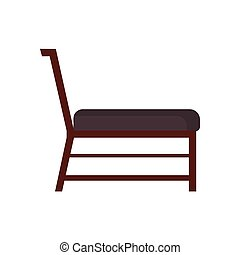 Classic chair vector icon side view. Furniture home interior isolated. Retro luxury room sit. Cartoon sofa flat stool