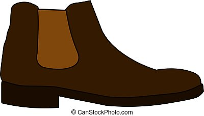 Classic chelsea shoe style boot icon isolated on white background Flat design Vector Illustration