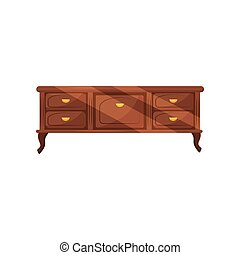 Classic chest of drawers with golden handles. Vintage furniture. Antique commode for bedroom. Flat vector design