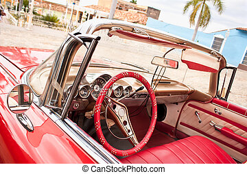 Classic Chevrolet in Trinidad. Cuba. - Detail of Red Classic...