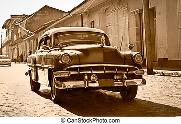 TRINIDAD-JAN 13:Classic Chevrolet on January 13,2010 in Trinidad, Cuba. Before a new law issued on October 2011,cubans could only trade old cars that were on the road before the revolution of 1959