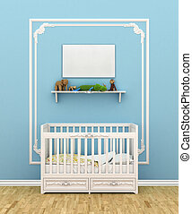 Classic children room with cradle. 3d illustration