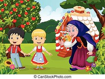 Classic children story Hansel - Vector illustration of...
