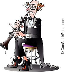 Classic clarinet player - Vector cartoon illustration of a...
