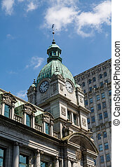 Classic Clock Tower in Vancouver - Classic architecture in...