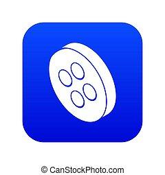 Classic clothes button icon blue