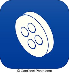 Classic clothes button icon blue vector