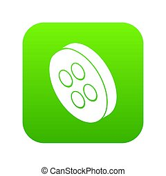 Classic clothes button icon green