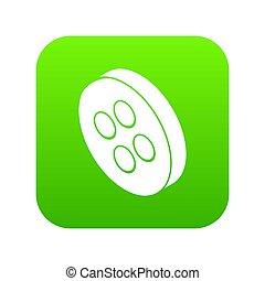 Classic clothes button icon green