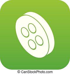 Classic clothes button icon green vector
