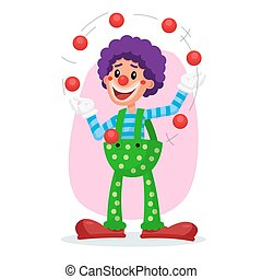 Classic Clown Vector. Amazing Public Circus Show. Man Juggling Balls. Flat Cartoon Illustration
