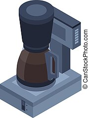 Classic coffee maker icon, isometric style