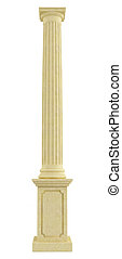 Classic column on pedestal isolated on white - rendering