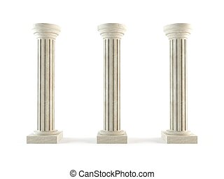 Classic columns - 3D rendering of a set of classic stone ...