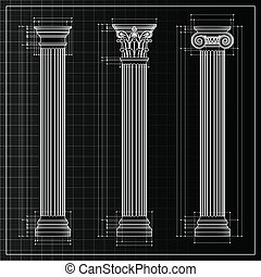 Classic columns blueprint sketch