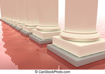 Classic columns mirroring on red floor