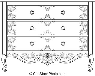 Classic commode with damask ornaments