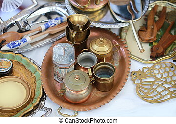 classic copper kitchenware set on table
