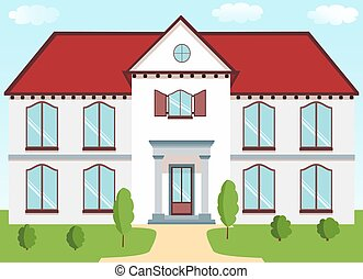 Classic cottage with a red roof, porch columns, shutters, lawn on a background of blue sky