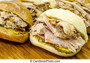 Classic Cuban Medianoche Sandwiches - Close up of Cuban...