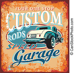 classic custom rod garage - classic hot rod garage vector...
