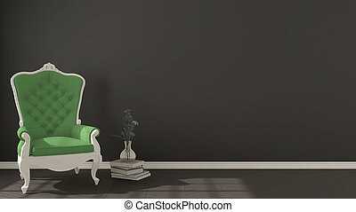 Classic dark living background, with white and green vintage armchair on herringbone natural parquet flooring, interior design