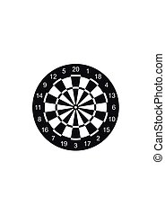 Classic dart board target icon isolated on white background....