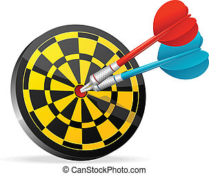 Classic Darts Board with colorful darts.
