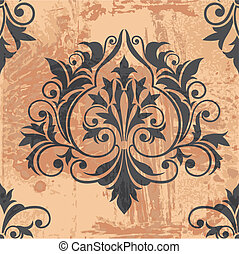 Classic Decor Element on grunge background, editable vector...