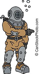 Hand drawing of a vintage diver in an underwater deep snuffer
