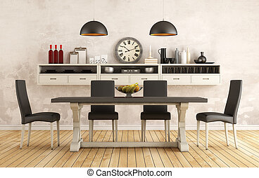 Classic dining room - Black and white retro dining room with...