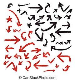 classic doodle style arrows set