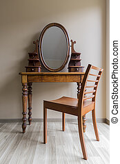 Classic dressing table - Shot of a wooden antique dressing ...