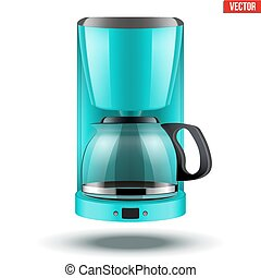 Coffee maker with glass pot.