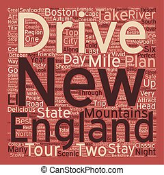 Classic Drives New England Tour text background wordcloud...