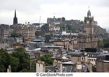 Classic Edinburgh from Calton Hill including Edinburgh Castle, Balmoral Hotel and Scott Monument, UK