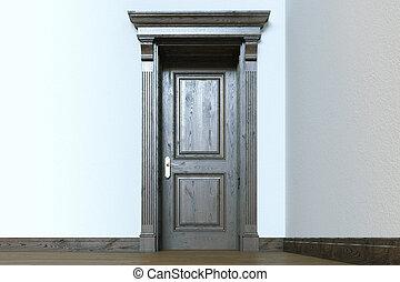 Classic elegant wooden door in empty modern room interior. 3d render.