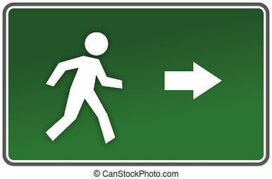classic emergency sign with arrow and figure