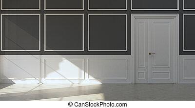Classic empty room dark walls