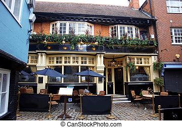 classic English pub and european street cafe