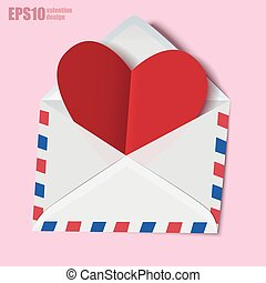 Classic envelope with red heart paper valentine card inside