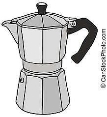 Hand drawing of a classic espresso maker - not a real type