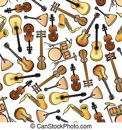 Classic, ethnic music instruments seamless pattern