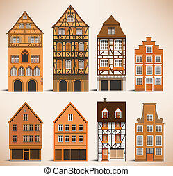 Classic European houses - Vector illustration of classic...