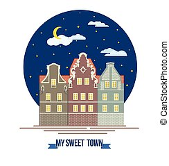 Classic European old city houses landscape Buildings and facades Night cozy town street Flat design style