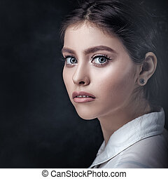 Classic female portrait with copy space for your design