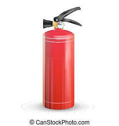 Classic Fire Extinguisher Vector. Metal Glossiness 3D Realistic Red Fire Extinguisher Isolated Illustration