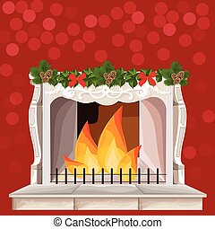 Classic fireplace chimney. Christmas Holidays card. Vector cartoon styles