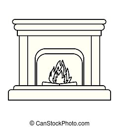 classic fireplace icon black and white