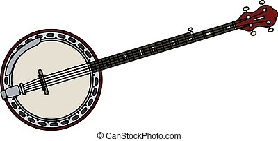 Classic five strings banjo - Hand drawing of a classic five...